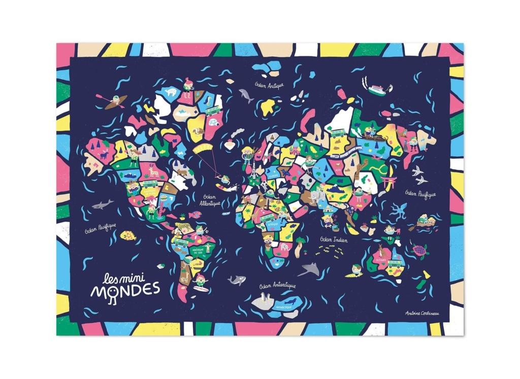 Carte du monde planisphère enfants bleue