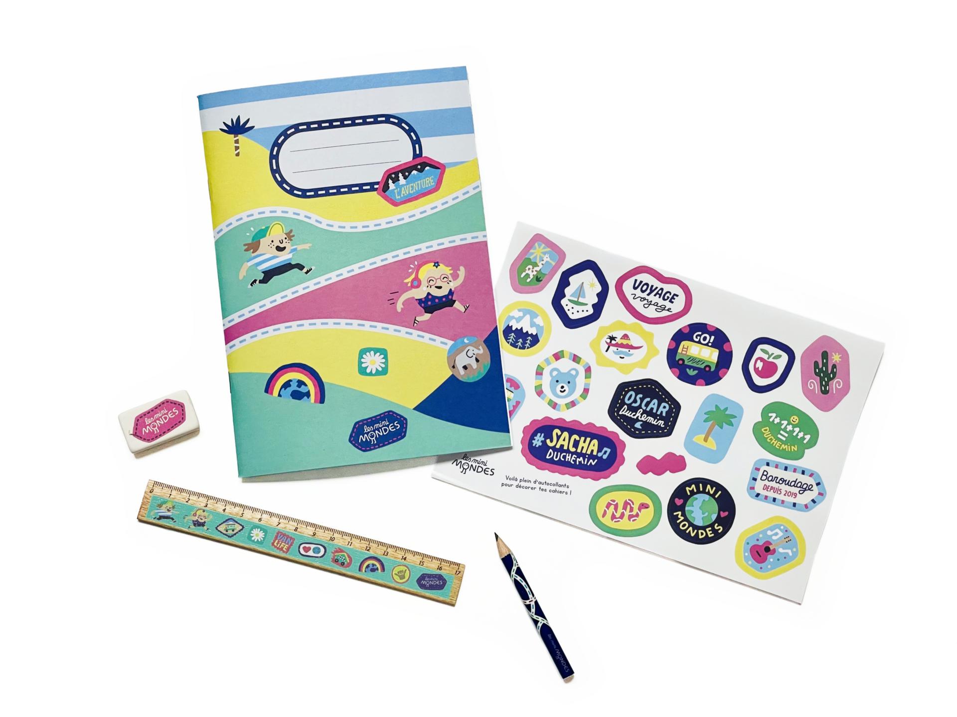 Le kit de fournitures scolaires pour la rentrée des classes de votre enfant, aux couleurs des Mini Mondes